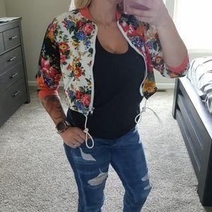 Vintage Light Weight Bomber Zip Up Jacket Floral